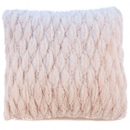 Povlak na polštář chlupatý prošívaný béžová 45 x 45 cm