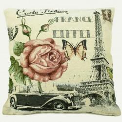 Povlak na polštářek gobelínový 45 x 45 cm - Rose Eiffel Car