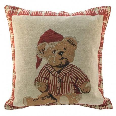 Povlak na polštářek gobelínový - Medvěd s čepicí 45x45