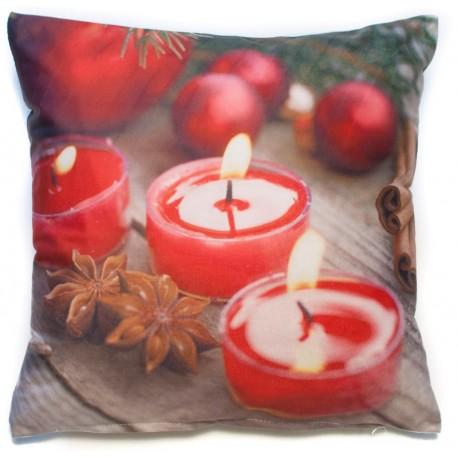 Povlak na polštář foto Vánoční svíčky