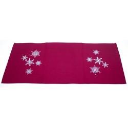 Štola 40 x 90 cm Vánoční vločky červené
